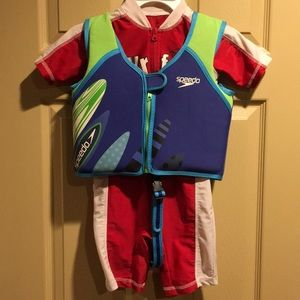 2 items: Boys swimsuit size 4T and Speedo vest
